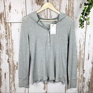 Polo Jeans Gray Waffle Hooded Thermal Long Sleeve
